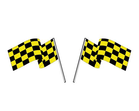 Yellow and black checked racing flag. Vector