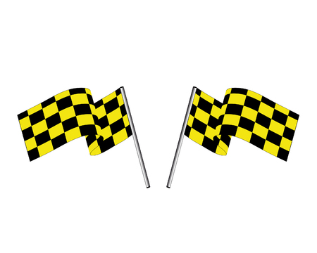 Yellow and black checked racing flag. Stock Vector - 6460451