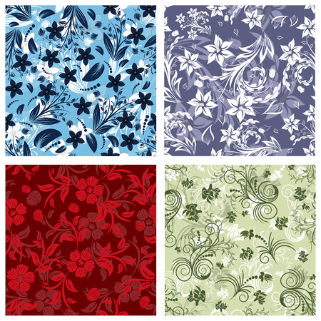 filling: Seamless floral backgrounds set. For easy making seamless pattern just drag all group into swatches bar, and use it for filling any contours. Illustration