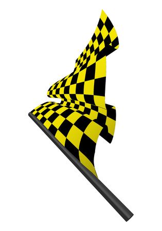 Yellow and black checked racing flag. Stock Vector - 6460456