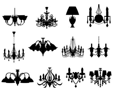 Conjunto de siluetas de lámparas de diferentes.