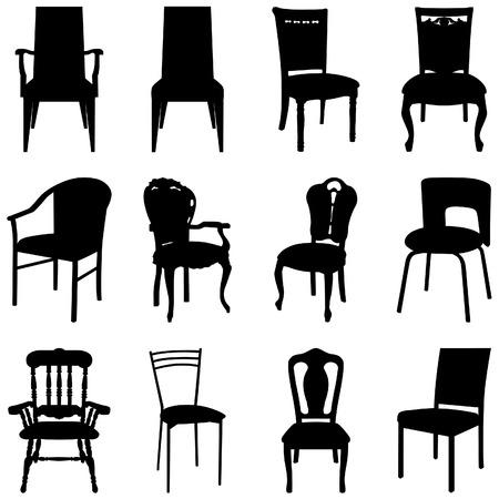 Colección de siluetas de sillas diferentes.  Ilustración de vector