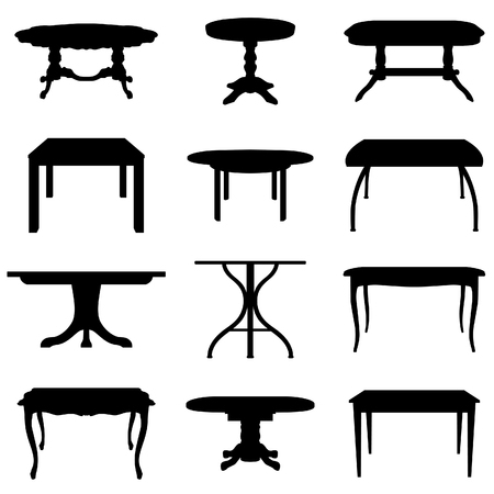 Collection of different tables silhouettes.  Vector