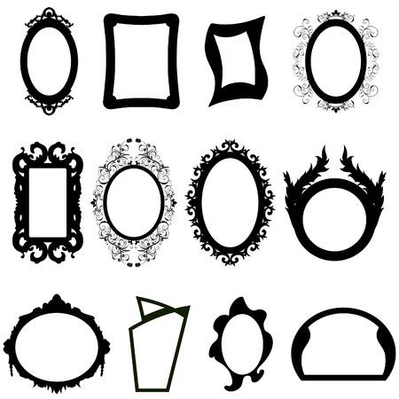 marco blanco y negro: Conjunto de diferentes moderno y antiguo espejos siluetas.  Vectores