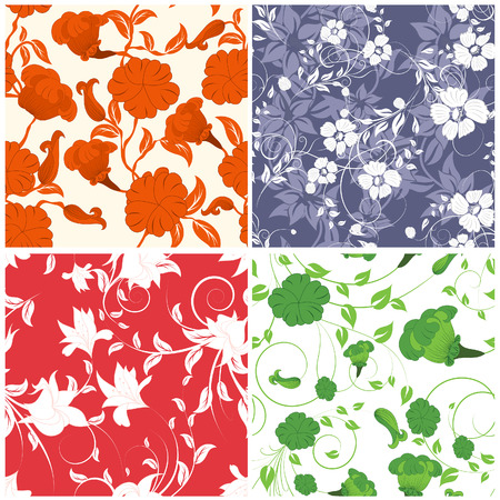 swatches: Seamless floral backgrounds set. For easy making seamless pattern just drag all group into swatches bar, and use it for filling any contours. Illustration