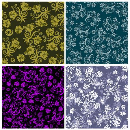 remplissage: Ensemble des arri�re-plans floral transparente. Simple motif transparente faisant juste faites glisser tous les groupe dans la barre de nuances et utilisez-le pour remplir les contours.  Illustration