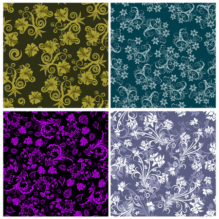group pattern: Seamless floral backgrounds set. For easy making seamless pattern just drag all group into swatches bar, and use it for filling any contours. Illustration