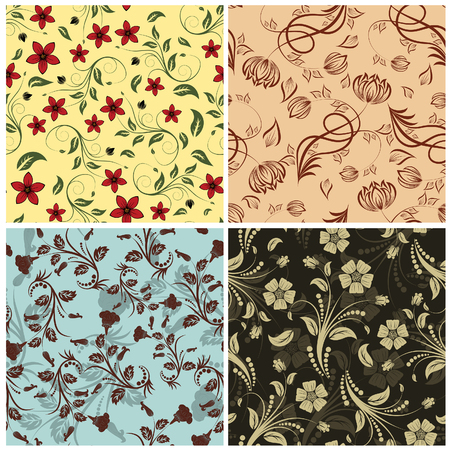 Seamless floral backgrounds set. For easy making seamless pattern just drag all group into swatches bar, and use it for filling any contours. Vector