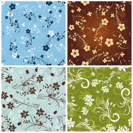 Seamless vector floral backgrounds set. For easy making seamless pattern just drag all group into swatches bar, and use it for filling any contours. Vector