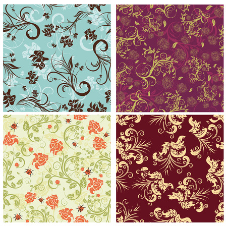 drapes: Seamless vector floral backgrounds set. For easy making seamless pattern just drag all group into swatches bar, and use it for filling any contours.