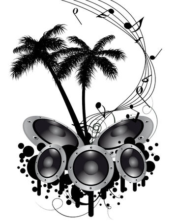Tropical grunge music background with copy space Vector