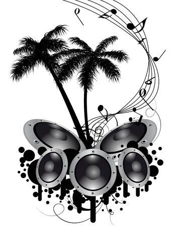 Tropicale grunge background di musica con spazio di copia
