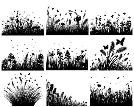 Vector grass silhouettes backgrounds set. All objects are separated. Stock Vector - 6522080