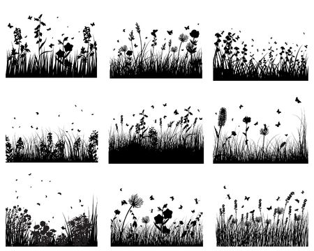 Vector grass silhouettes backgrounds set. All objects are separated. Vector