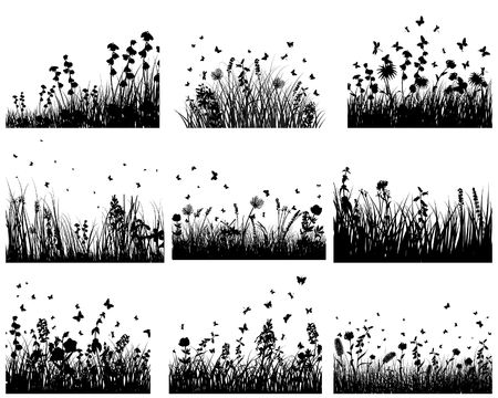 landscaped: Vector grass silhouettes backgrounds set. All objects are separated.