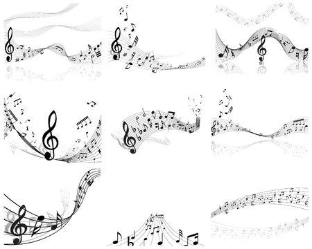 minim: Vector musical notes staff backgrounds set for design use Illustration