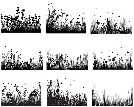 Vector grass silhouettes backgrounds set. All objects are separated. Stock Vector - 6522073