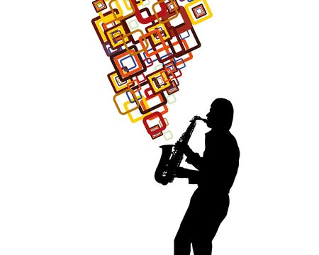 saxophonist: Jazz saxophonist theme. Vector illustration for design use.
