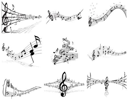 Vector musical notes staff backgrounds set for design use Stock Vector - 6522060