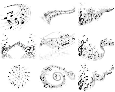 notes musical: Vector musical notes staff backgrounds set for design use Illustration