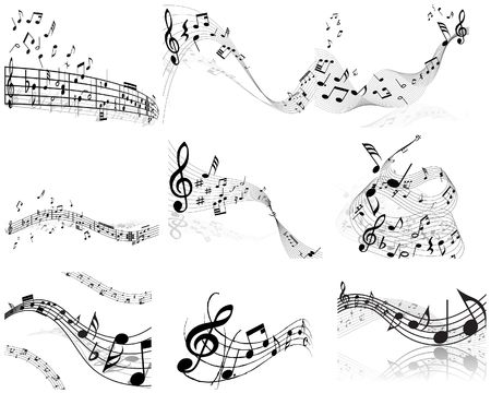 minims: Vector musical notes staff backgrounds set for design use Illustration