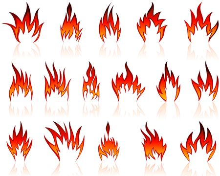 Set of fire icons for design use Vector