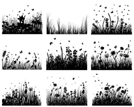 grass silhouettes backgrounds set. All objects are separated. Stock Vector - 6569709