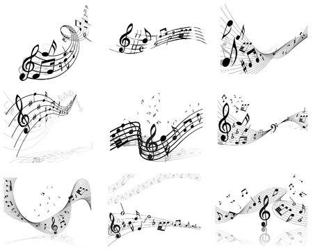 minim:  musical notes staff backgrounds set for design use Illustration