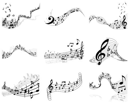 musical notes staff backgrounds set for design use Vector