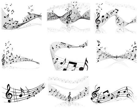 minim: musical notes staff backgrounds set for design use