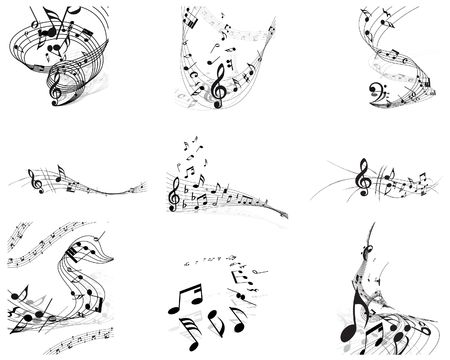 minims: musical notes staff backgrounds set for design use