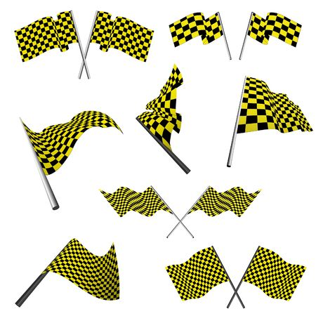 checked flag: Yellow and black checked racing flags set.  illustration.