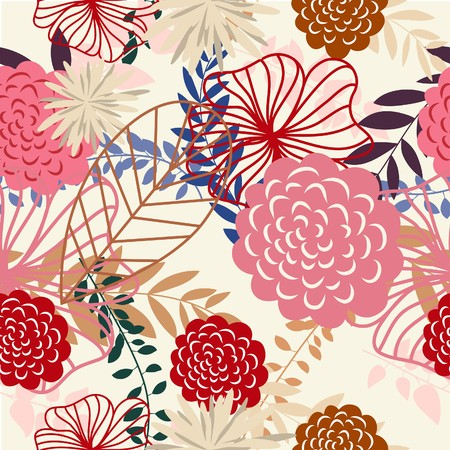 Seamless  floral background. For easy making seamless pattern just drag all group into swatches bar, and use it for filling any contours. Stock Vector - 7117111