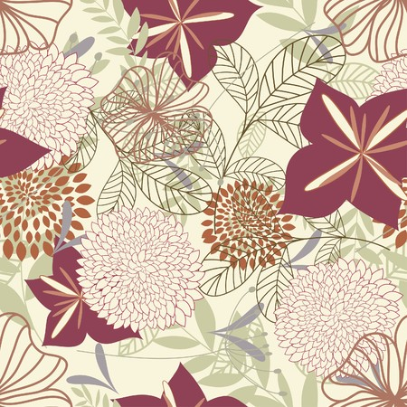 it background: Seamless floral background. For easy making seamless pattern just drag all group into swatches bar, and use it for filling any contours.