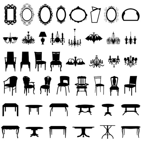 table set: Set of different furniture silhouettes. illustration.