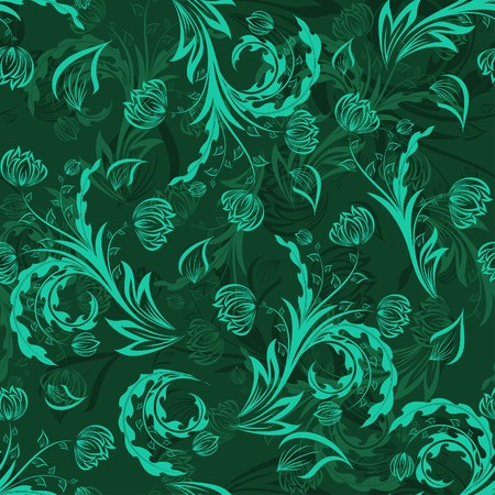 filling: Seamless  floral background. For easy making seamless pattern just drag all group into swatches bar, and use it for filling any contours. Illustration