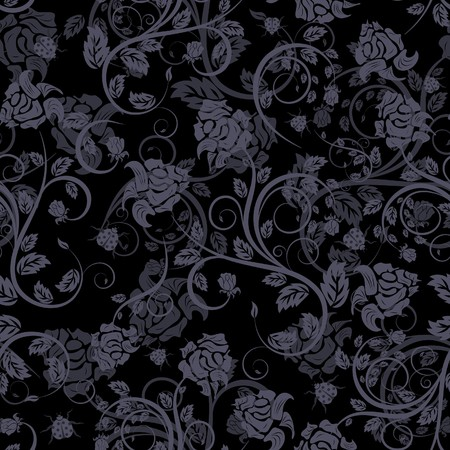 swatches: Seamless  floral background. For easy making seamless pattern just drag all group into swatches bar, and use it for filling any contours. Illustration
