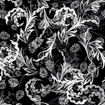 remplissage: Arri�re-plan floral transparente. Simple motif transparente faisant juste faites glisser tous les groupe dans la barre de nuances et utilisez-le pour remplir les contours.  Illustration