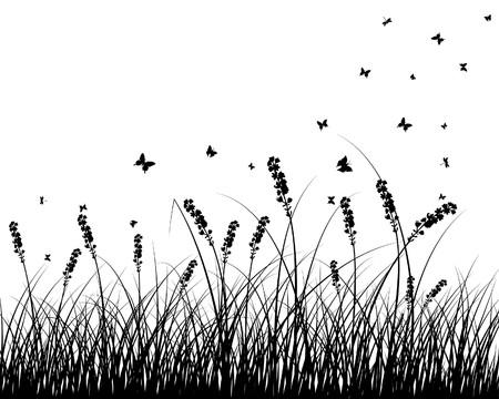 Fondo de siluetas de hierba. Todos los objetos están separados.