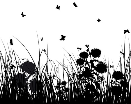 grass silhouettes background. All objects are separated. Stock Vector - 7249163