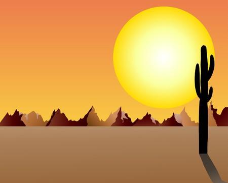 Desert and rocks under sunset background.  illustration. Stock Vector - 7249125