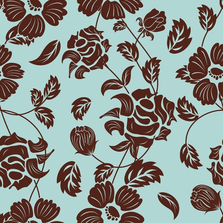 wallpaper pattern: Seamless floral background. For easy making seamless pattern just drag all group into swatches bar, and use it for filling any contours.