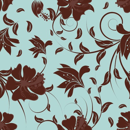 Seamless  floral background. For easy making seamless pattern just drag all group into swatches bar, and use it for filling any contours. Vector