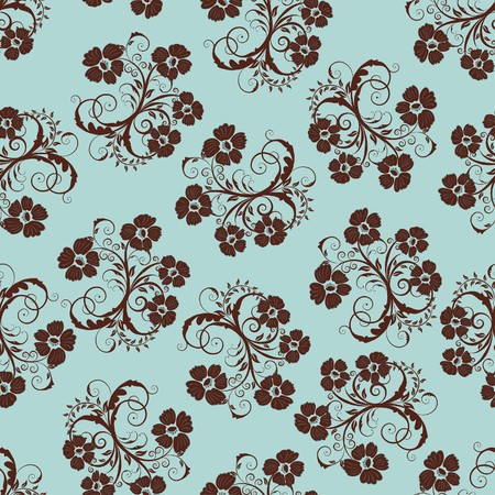 textile design: Seamless  floral background. For easy making seamless pattern just drag all group into swatches bar, and use it for filling any contours. Illustration
