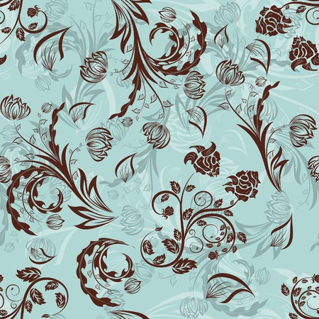 leaf curl: Seamless  floral background. For easy making seamless pattern just drag all group into swatches bar, and use it for filling any contours. Illustration