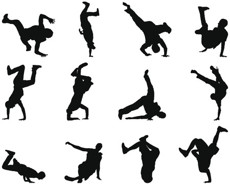 street dance: Collection of different break-dance silhouettes.  illustration.