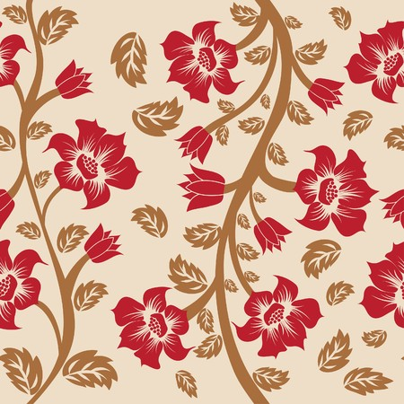 Seamless  floral background. For easy making seamless pattern just drag all group into swatches bar, and use it for filling any contours. Stock Vector - 7296270