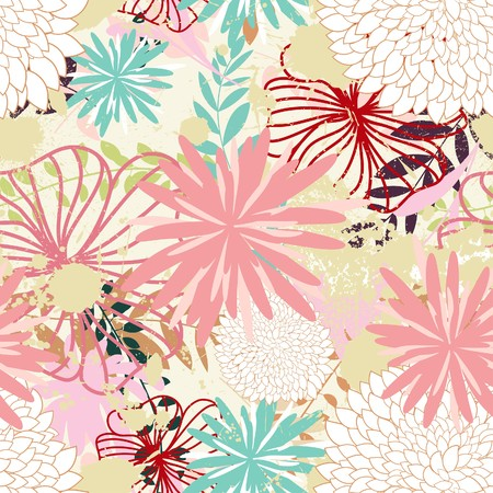it background: Seamless  floral background. For easy making seamless pattern just drag all group into swatches bar, and use it for filling any contours. Illustration