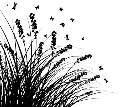 shrubs:  grass silhouettes background. All objects are separated.