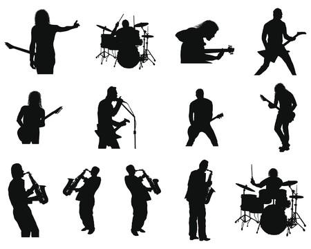 Collection des silhouettes jazz rock différent. illustration.